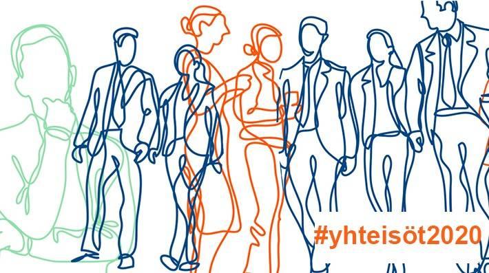 kuvituskuva ja hashtag #yhteisöt2020