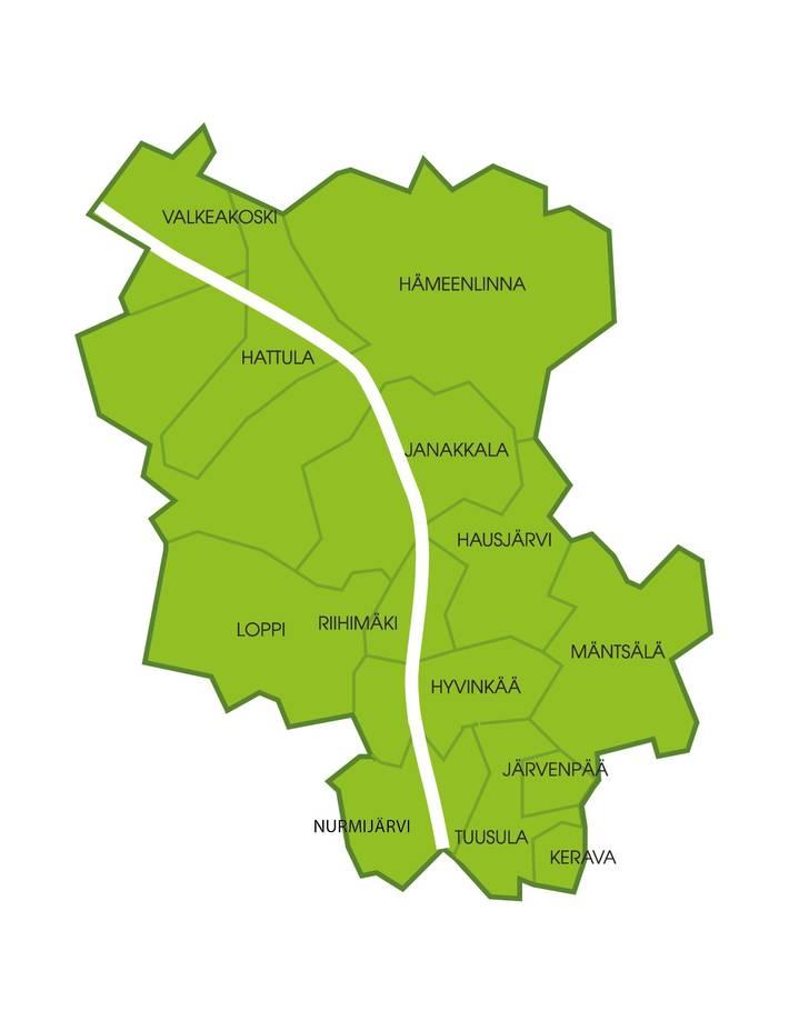 Kartta Jätelautakunta Kolmenkierron alueesta