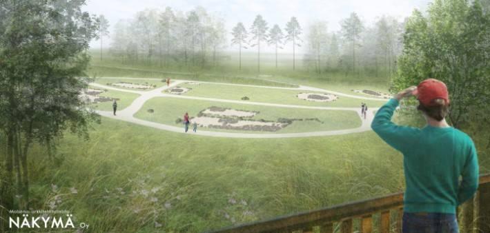 Havainnekuva näköalatasanteelta alas arkeologisen puistoon jossa talojen paikat näkyy kiviraunioina
