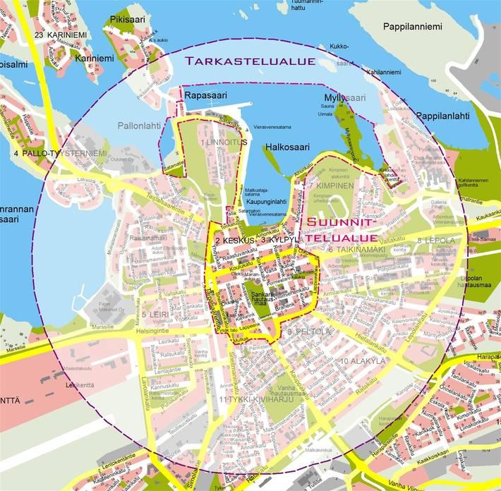 Lappeenrannan keskustan kehittämissuunnitelma kattaa keskustan alueen lisäksi ranta-alueet Pallonlahdesta Myllysaareen.