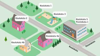 Grafiikka, jossa on kuvattu erilaisia rakennuksia ja alueita osoitteineen.
