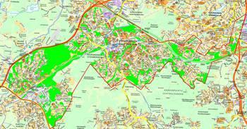 Keski-Espoon suunnittelualue rajattu punaisella ja Espoon kaupungin hallinoimat metsät ja niityt korostettu vihreällä täytöllä.